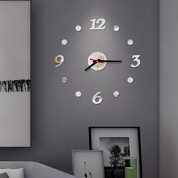 números de adesivo de parede Desconto DIY Relógio de parede Modern Frameless 3D Espelho Etiqueta decorativa árabe Número Adhesive silencioso Home Office Escola