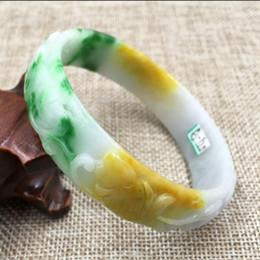 Nouveau Brillant sculptés à la main Bracelet magnifique bracelet vert chinois Jade 54mm-64mm