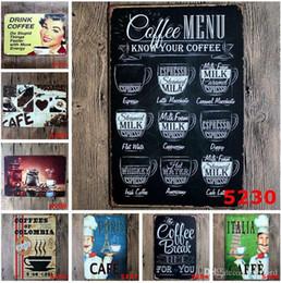 rocce decorative all'ingrosso Sconti 100pcs 20x30cm coffee menu italian cafe Retro ferro dipinto metallo targhe in metallo decorazione della parete placca vintage metallo pittura pub bar casa