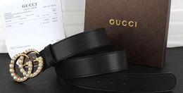 cinghie perle Sconti Designer Cinture Uomo Nuovo di alta qualità in vera pelle fibbia della perla Cinture di colore nero Designer Cinture per le donne Dimensioni 105-120cm con scatola