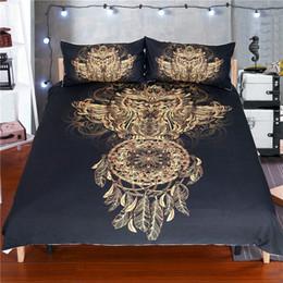 Feder bettdecke könig online-Goldene Eule Bettwäsche-Set King Size Jungen Luxus Traumfänger Print Schwarz 3d Duvet Tier Feder Bohemian Bettdecke
