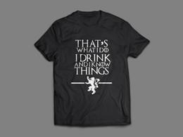 Canada Game of Thrones C'est ce que je bois et je sais ce que je t-shirt est noir T-shirt drôle livraison gratuite Unisexe Casual Tshirt top cheap funny drinking t shirts Offre