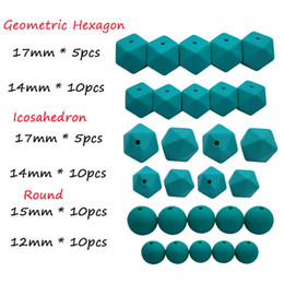 50pcs DIY Silicone Beads Teether Set Baby Teething Hexagon Rodada Icosahedron Food Grade Beads BPA Colar Free Care Fazendo Toy de Fornecedores de conjuntos de comida de brinquedo