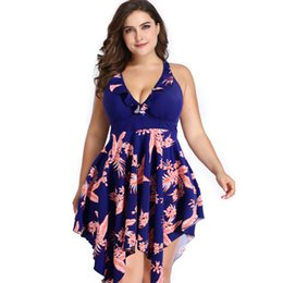 Maiô encobrir saias on-line-Mulheres Plus Size Swimsuit Saia Fenda Swimdress Maiô Beach Wear Vestido tankini meninas Emagrecimento Monokini swimewar Tummy Controle Cover Up