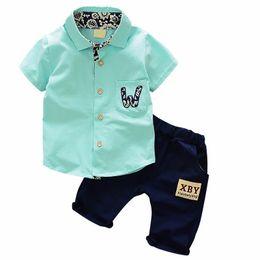 2de4760294633 2019 Summer Hot Toddler Kids Cool Baby Boy Single-breasted Printing Short  Sleeve Shirt Tops Pants 2pcs Outfits Clothing Set