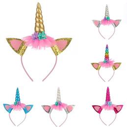 hornverschlüsse Rabatt Einhorn Horn Haarband Kinder Einhorn Stirnband für Party DIY Haarschmuck Blume Haarspange Cosplay Crown Baby Stirnband Katzenohren 6 Farben