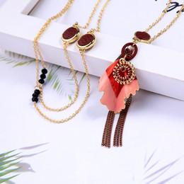 2019 collana di fiore della resina smaltata Collana pendente ciondolo in cristallo imitazione ciondolo in resina imitazione fiore in pelle per le donne collana di fiore della resina smaltata economici