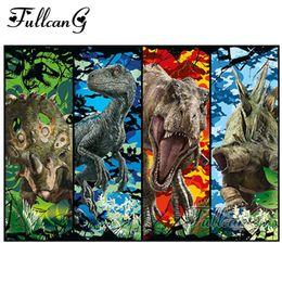 pintura de dinossauro Desconto FULLCANG DIY completa Praça Diamante Bordado Dinosaur World Animais Diamante Pintura Pintura 5D Cristal Cross Stitch Mosaic G798