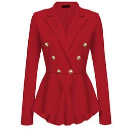nuevo traje cruzado Rebajas 2018 Tamaño nuevo más las mujeres de negocios se adapta a la chaqueta breasted de doble resorte del todo-fósforo de manga larga de las mujeres adelgazan las chaquetas chaquetas L18101303