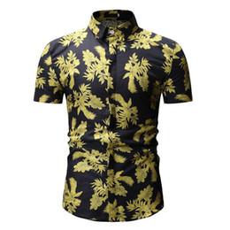 Homens casuais flor impresso camisa de vestido fino camisa de folha masculina de manga curta tropical de