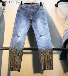 2019 pantalones negros de talla grande Diamante de mujer Borla Tobillo - Longitud Pantalones de cintura alta Pantalones vaqueros 2019 primavera nuevos Pantalones vaqueros de mujer lavados pantalones vaqueros de mezclilla