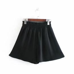 le gambe ampie di pantaloncini delle donne Sconti 2019 New coreano Bowknot di colore solido a vita alta Shorts Womens carino pieghettato pantaloncini a gamba larga Estate casuale allentato