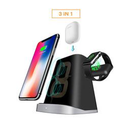 2019 cargador de escritorio Soporte de carga inalámbrica 3 en 1 Soporte cargador de teléfono magnético para AirPods Apple iWatch para Xiaomi Soporte de carga de escritorio Dock cargador de escritorio baratos