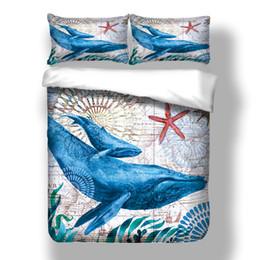 Cama de baleia on-line-Casa Têxtil Moda Conjunto de Cama de Solteiro Dupla King Size Capa de Edredão Set 2/3 pcs com Baleia Oceano Mar Bedding Suprimentos