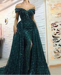 vestido verde esmeralda imperio Rebajas 2019 Vestidos de sirena con lentejuelas brillantes Noche con faldas largas Lado dividido fuera del hombro Vestidos de fiesta Vestido de fiesta lateral Partido