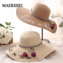 MAERSHEI Wide Brim Sun Hats For Women Letter Embroidery Black Bow Panama Straw  Hat Folded Floppy Beach Caps Chapeu Feminino 24182d13a715