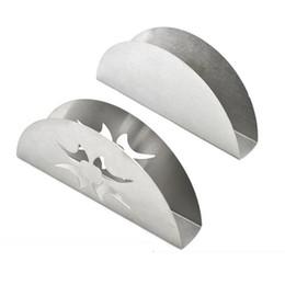 2019 scatola di corteccia Creativo a forma di ventaglio in acciaio inox titolare del tovagliolo titolare dell'organizzatore contenitore del tessuto titolare scatole decorazione della tabella QW9829