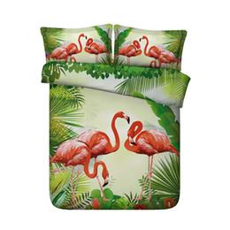 tropische blumendrucke Rabatt Mädchen Flamingo Print Bettbezug-Set für Kinder Teens Rosa Animal Flower grünes Blatt Bettwäsche-Set mit Reißverschluss tropischen Pflanzen Tröster