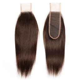 chocolate straight hair Coupons - 2x6 Lace Closure Brazilian Remy Human Hair Chocolate Brown #2 #4 Peruvian Indian Malaysian Straight Body Wave 8-20 Inch Remy Hair Closure