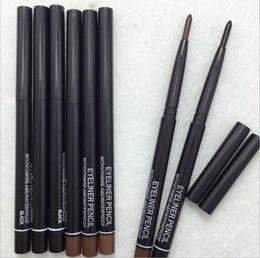 Linee di occhio marrone nero online-Le donne impermeabile retrattile Rotary Eyeliner Pen Eye Liner Pencil trucco cosmetico strumento nero Brown trasporto libero di colori