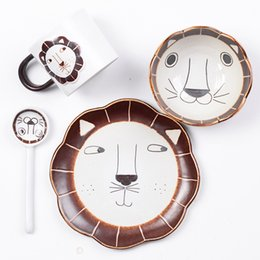 handpainted ceramics Coupons - Handpainted ceramics cute lion cup bowl dish sets tableware Western dessert plates mug tableware