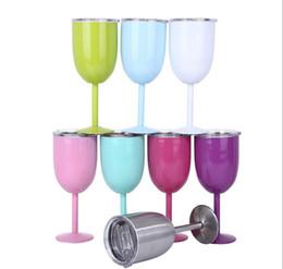 2019 copas de vino de tallo 8 colores 10oz copas de vino tazas de acero inoxidable con aislamiento al vacío copas de vino tinto tallo copa de vino con tapa KC3010 25 piezas rebajas copas de vino de tallo