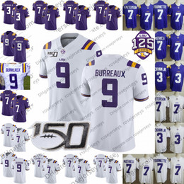 LSU Tigers BURREAUX Jersey 9 Joe Burrow Nickname 3 Odell Beckham Jr. 7 Tyrann Mathieu Leonard Fournette Concessione Delpit Chase 2019 150 ° Bianco da odell beckham jr jersey di calcio fornitori
