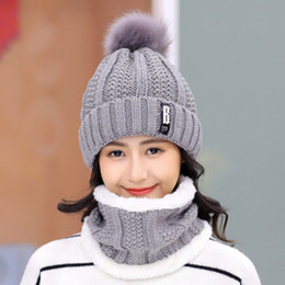 40848b25c21acc Women 2pcs Beanie+Scarf Set Winter Warm Scarf Fashion Thicken Knitted  Beanie Hat Cap 2019 Neck Warmer Woolen Scarf Snow Hat