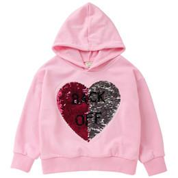 Chaquetas de lentejuelas para niños online-Venta al por menor muchachas de los muchachos de las lentejuelas letra de la impresión ocasional de la chaqueta encapuchada de los cabritos sudaderas de diseño camisetas de la manera ropa suéter outwear los niños