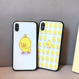 2019 capas de telefone de pato Pouco amarelo pato phone cases soft para iphone xs max vidro temperado de volta folha de telefone celular case para iphone 6 7 8 além de capas de telefone de pato barato
