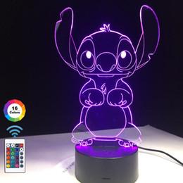ночная оптика оптом Скидка 3D светодиодная лампа спальня стежка стол ночник акриловая панель USB-кабель 16 цветов изменить базовый светильник дети подарок Оптовая доставка