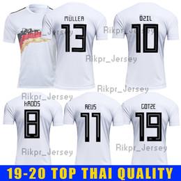 camisa ozil alemanha Desconto 2019 2020 HOMELS OZIL KROOS WERNER MULLER DRAXLER GeRMany Camisa de Futebol 19-20 Casa camisa Branca Uniformes de Futebol kit