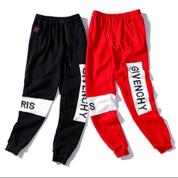 Jeans di ricamo maschile online-nuovo 2019 GIV.ENCH Pantaloni jogging uomo ricamo hiphop cavallo basso per jeans hip hop sarouel dance pantaloni larghi pantaloni uomo Cross Pan