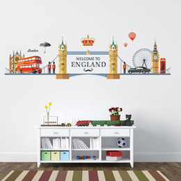 etiqueta de la pared paisaje Rebajas 20190621 Romantic London Landscape Etiqueta de La Pared Dormitorio TV Fondo Decoración Extraíble Autoadhesiva Etiqueta de La Pared