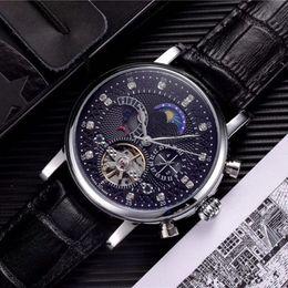 Relógio automático de cavalheiro on-line-Relógio de luxo Homens Relógio Skeleton Tourbillon Mão-liquidação Mecânica Automático Relógio Clássico de Couro Natural Relógios Gentleman Business