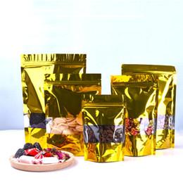 2019 aufstehen beutel Goldener Stand-Up-Reißverschluss aus Aluminiumfolie Schliessbeutel mit durchsichtigem Kunststoffbeutel mit Reißverschluss wiederverschließbar Food Storage Packaging Bag LX1582 günstig aufstehen beutel