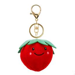 Улыбающееся яблоко онлайн-Симпатичные фрукты плюшевые брелок клубника ананас яблоко улыбка брелок для девочки брелок сумка кулон аксессуары Sleutelhanger