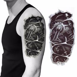 2019 großhandel körper creme flaschen 3D mechanische Arm Befestigungsmutter Tattoo Aufkleber für Männer Arm Hand Körper wasserdicht temporäre Tätowierung Tätowierung D19011203