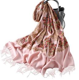 2020 sciarpa bianca ricamata Sciarpa ricamata in cachemire con scialle più spesso e caldo in inverno sconti sciarpa bianca ricamata