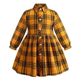 2019 kinder kleiden farbe gelb Heißer verkauf candy gelbe farbe kinder kleidung mode langarm umlegekragen weicher baumwolle kinder mädchen kleider günstig kinder kleiden farbe gelb