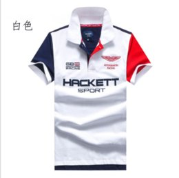 british t shirt brands Promo Codes - Brand clothing New Men Polo Shirt Hacket SPORT Racing British Fashion Business Casual shirts Short Sleeve breathable HKT polos t-shirt