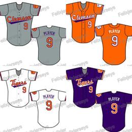 Camiseta de béisbol de costura personalizada online-NCAA Custom Clemson Tigers College Béisbol Jersey Mujeres Jóvenes Hombres Blanco Todos los Jerseys de Béisbol Cosidos Envío Gratis Rápido