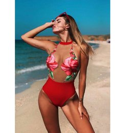 dc93088e9f91e 2019 Red Sheer Mesh Sexy Women Swimwear Floral Print One Piece Swimsuit  Female Bather Bathing Suit Halter High Waist Monokini