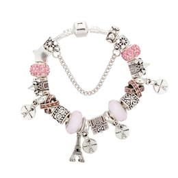 2019 bijoux eiffel Mode cristal rose fit Pandora perles bijoux château perles charme bracelets DIY Tour Eiffel pendentif femmes amour bracelet bijoux en gros promotion bijoux eiffel