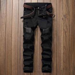 corredores de couro Desconto Fashion Designer Mens rasgado Biker Jeans couro dos retalhos Slim Fit Preto Moto Denim Corredores por Homem afligido Calças Jeans