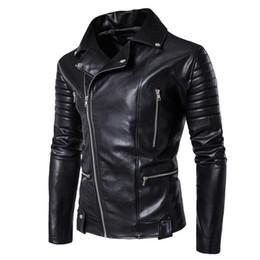 Jacken indien online-Sari Indien Sari-Kleider 2017 neue europäische Männer Verkaufen Motorrad Lederjacke Revers Größe Personality Oblique Zipper