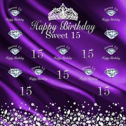 Индивидуальный текст Sweet 15 Фон Фиолетовый Шелковый Атлас Печатных Алмазов Корона Принцесса Девушка День Рождения Photo Booth Фон от