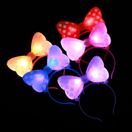 luci di arco dei capelli Sconti Head Hoop Luminescence Bow Led Light Up Giocattoli Hairpin Flash Of Light Bambini Hair Hoop Vocal Concert Party Articoli 1 25xy p1