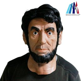 Máscara humana completa online-Película Lincoln Máscara Wolverine Full Head Hecho a mano Cara humana Máscara de látex para Máscara de fiesta