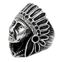 anel de cabeça de ouro indiano Desconto Men prata preto Chefe indiano Chefe do motociclista banda Ring, em aço inoxidável moda da cor do ouro jóias anel de dedo, o tamanho do anel US